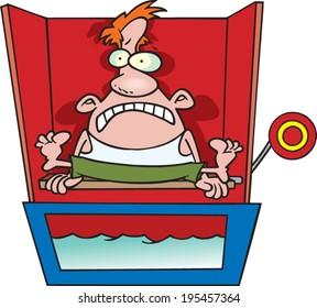 scared cartoon man sitting on a dunk tank