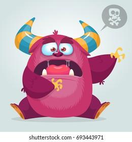 Scared cartoon pink monster waving. Vector cute monster mascot illustration for Halloween