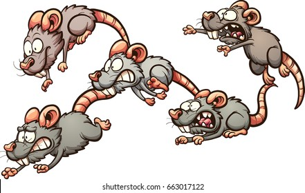 Scared cartoon rats running away. Vector clip art illustration with simple gradients. Each on a separate layer.