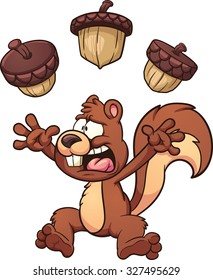 Scared cartoon squirrel. Vector clip art illustration with simple gradients. Each element on a separate layer.