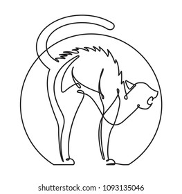 Scared Cat Continuous Line Vector