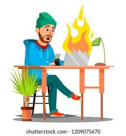Scared Employees Sitting At The Table And Burning With Fire Laptop Vector. Isolated Illustration