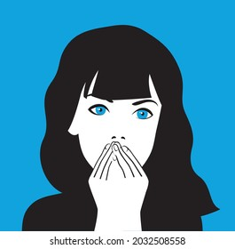 scared girl with blue eyes