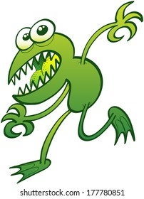 Scared green frog with sharp teeth, bulging eyes and disturbing expression while trying to escape by moving stealthily