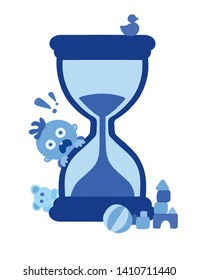 Scared little blue baby boy and the hourglass on white background. Concept of passing time. Child fast development metaphor, babies growing up, grow older. Deadline coming. Simple vector Illustration.