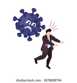 Scared man with panic attack running away from virus icon 3d isometric vector illustration