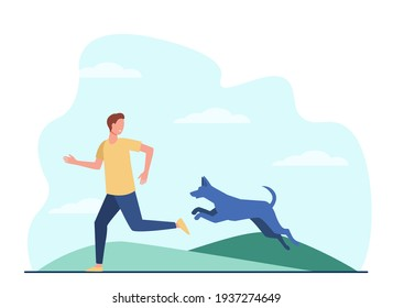 Scared man running away from dog. Dangerous animal chasing person flat vector illustration. Stray dog danger concept for banner, website design or landing web page