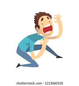 Scared and panicked young man screaming desperately, emotional guy afraid of something vector Illustration on a white background
