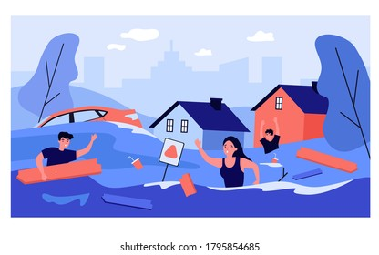Scared people in flooded suburb street. Houses, cars, rubbish floating on water. Vector illustration for natural flood disaster, tsunami, emergency, river overflow concepts