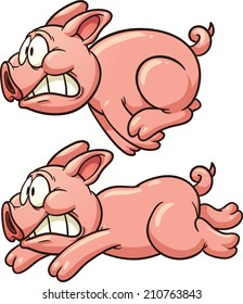 Scared pig running. Vector clip art illustration with simple gradients. Each in a separate layer.