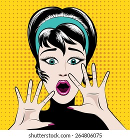 Scared pop art woman with his mouth open and hands raised. Vector illustration