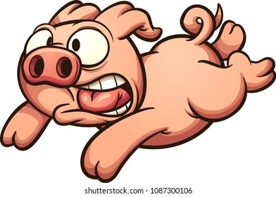 Scared running pig. Vector clip art illustration with simple gradients. All in a single layer.