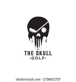 scared skull pirates with stick golf and ball logo vector design