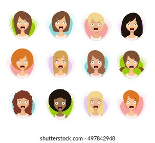 Scared Woman Faces. Scared Face Icons. Scared Women. Flat Style Vector Illustration.