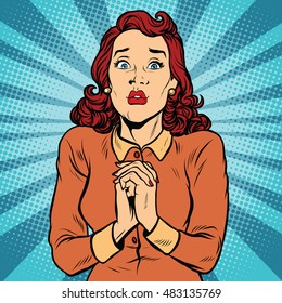 Scared woman hands folded in prayer, pop art retro vector illustration. religion and emotions