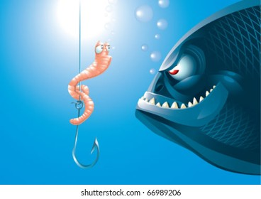 A scared worm before a big predator fish