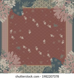 Scarf design with leaf and ethnic ornament on maroon. Hijab design motif