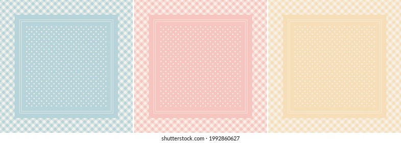 Scarf design set in pastel blue, pink, yellow, off white. Square light vector background with light gingham vichy check border and polka dots for spring summer silk scarf, bandana, shawl, hijab.