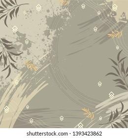 Scarf with grunge splash ink and leaf pattern. Design for hijab motif