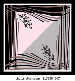 Scarf leaves design with pink and black