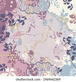 Scarf pattern design with abstract floral ornament. Hijab motif