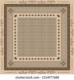 Scarf pattern design with ethnic element. Hijab ornament on brown