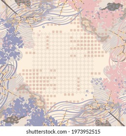 Scarf pattern design with ethnic and floral element. Hijab motif style