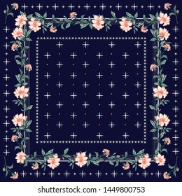 scarf; pattern; flower; print; design; floral; vector; background; vintage; ornament; flowers; silk; bandana; ethnic; border; fabric; retro; fashion; square; spring; art; textile; shawl; abstract; rus