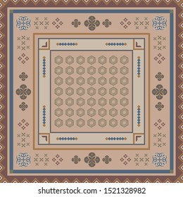 Scarf pattern with geometric ethnic element on brown background