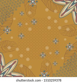 Scarf pattern with ornament design on yellow background. Hijab fashion