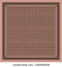Scarf pattern with traditional ethnic design on brown. Hijab fashion