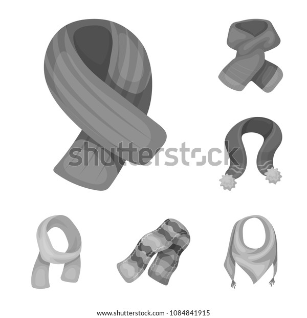 Scarf and Shawl monochrome icons in set collection for design.Clothes and Accessory vector symbol stock web illustration.