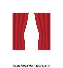 scarlet red curtains interior decoration design idea realistic icon collection isolated vector illustration