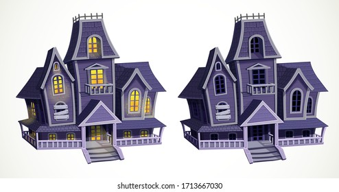 Scary abandoned house with light in the windows and empty dark windows isolated on white background