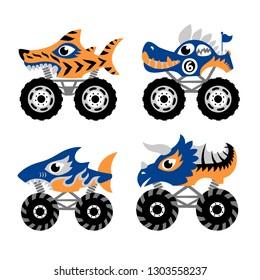 Scary animal monster truck vector set on white background.