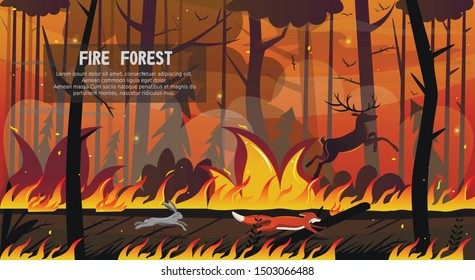 Scary Animals Fox Hare Deer Run in Forest Fire Vector Illustration. Wood in Flame, Tree Blaze, Pine Burnt. Dry Weather Drought Danger, Natural Disaster, Bushfire Catastrophe, Climate Change