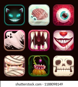 Scary app icons on black background. Creepy mobile game logo templates collection. Cartoon horror Halloween vector illustration set.