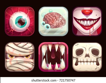 scary app icons on black background cartoon horror halloween vector illustration set
