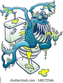 Scary aquatic blue monster coming out from plumber, dripping dirty water, showing his sharp teeth and sticking out his tongue while appearing trough the toilet in a threatening and aggressive mode