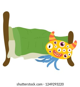 Scary big-eyed monster crawled from under the bed. Cartoon clip art illustration on white background.