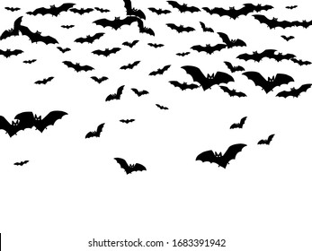 Scary black bats flock isolated on white vector Halloween background. Flittermouse night creatures illustration. Silhouettes of flying bats traditional Halloween symbols on white.