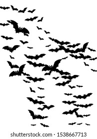 Scary black bats swarm isolated on white vector Halloween background. Flittermouse night creatures illustration. Silhouettes of flying bats traditional Halloween symbols on white.