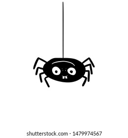 Scary black spider hanging with teeth sketch cartoon vector illustration. Isolated on white background.