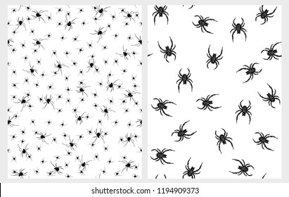 Scary Black Spiders Vector Patterns. Horrific Halloween Decoration. White Background. Fat Hairy Spiders. Black Tiny Spiders Layout.