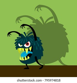 Scary blue monster with shadow on green, vector illustration