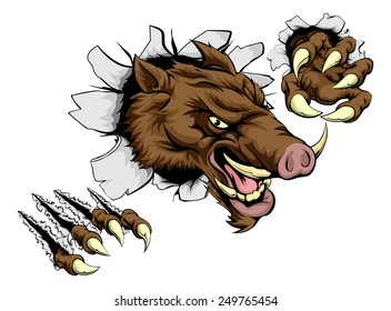 A scary boar animal mascot character breaking through wall with claws