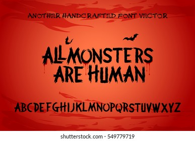 Scary Brush Alphabet Font with Horror & Thriller Halloween