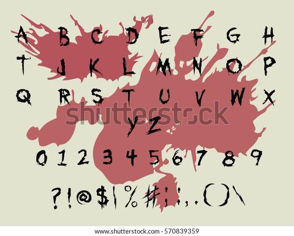 Scary Brush Font Handwriting Horror Font Stock Vector