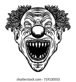 Scary cartoon clown illustration. Horror movie zombie clown face character. Vector.
