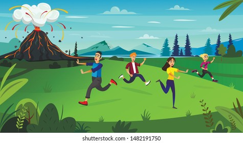 Scary Cartoon People Run, Volcano Mountain Erupt Vector Illustration. Nature Disaster, Geology Catastrophe, Natural Cataclysm, Fire Hazard. Volcanic Eruption, Molten Lava Flow, Earthquake Risk